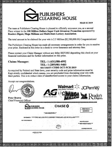 Sheriff: Beware of Publishers Clearing House scam