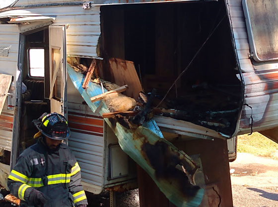 Fire destroys camper in Carthage